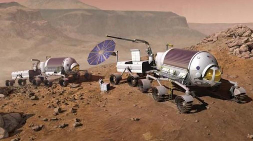 Modelo de hábitat móvil para la exploración de Marte. El concepto dos módulos es similar al del Vityaz actual.