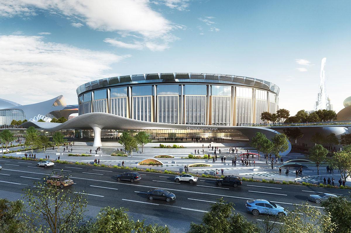 L'edificio dello stadio una volta terminati i lavori di ricostruzione