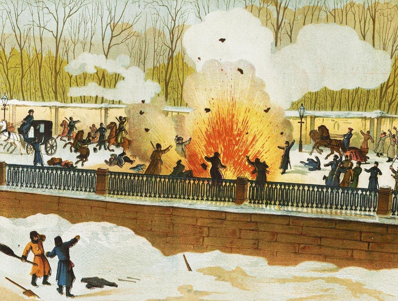 Illustration de l'attentat réussi contre Alexandre II