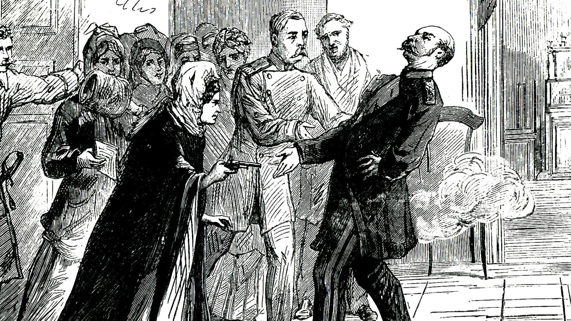 Vera Zassoulitch (1849-1919) tentant d'assassiner Fiodor Trepov, chef de la police de Saint-Pétersbourg. Elle n'a pu que le blesser et durant son procès, elle sera acquittée.