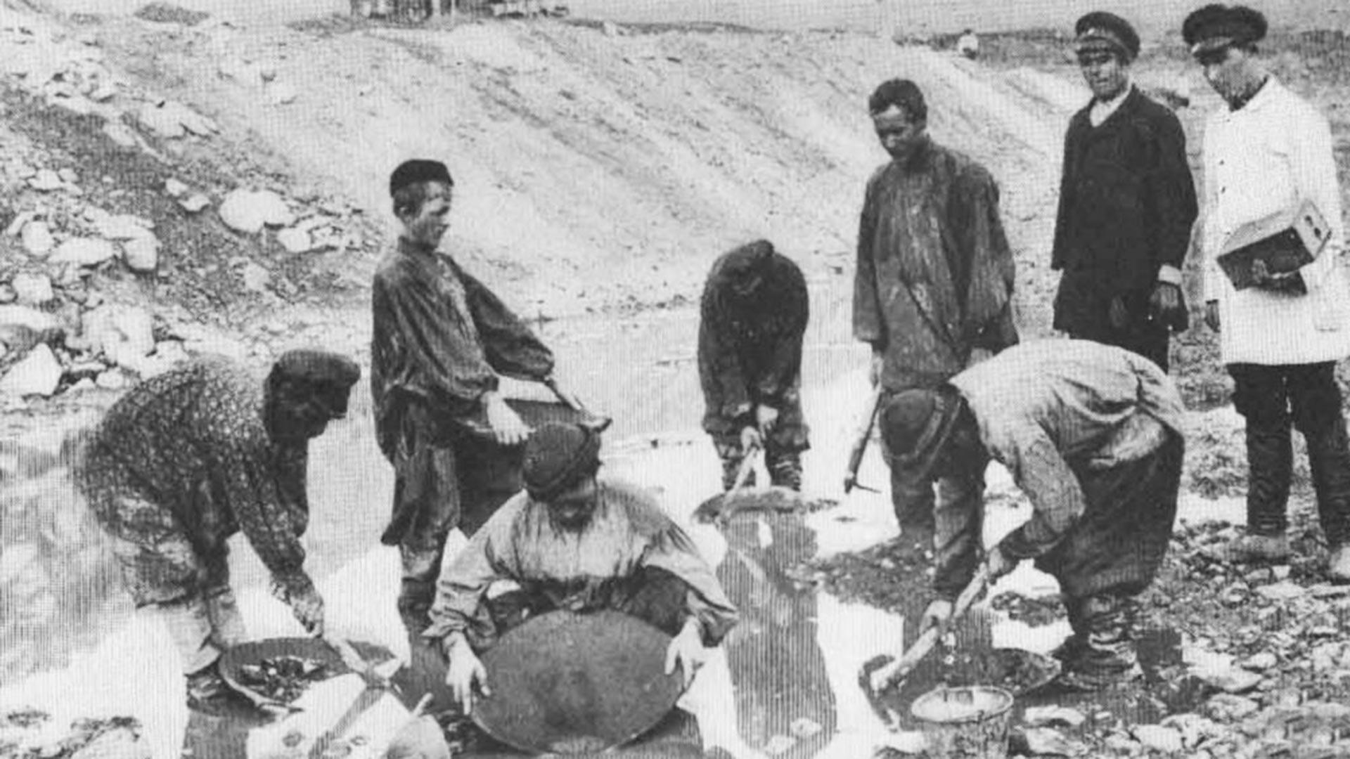 Испирање злата помоћу широког плитког рударског суда.