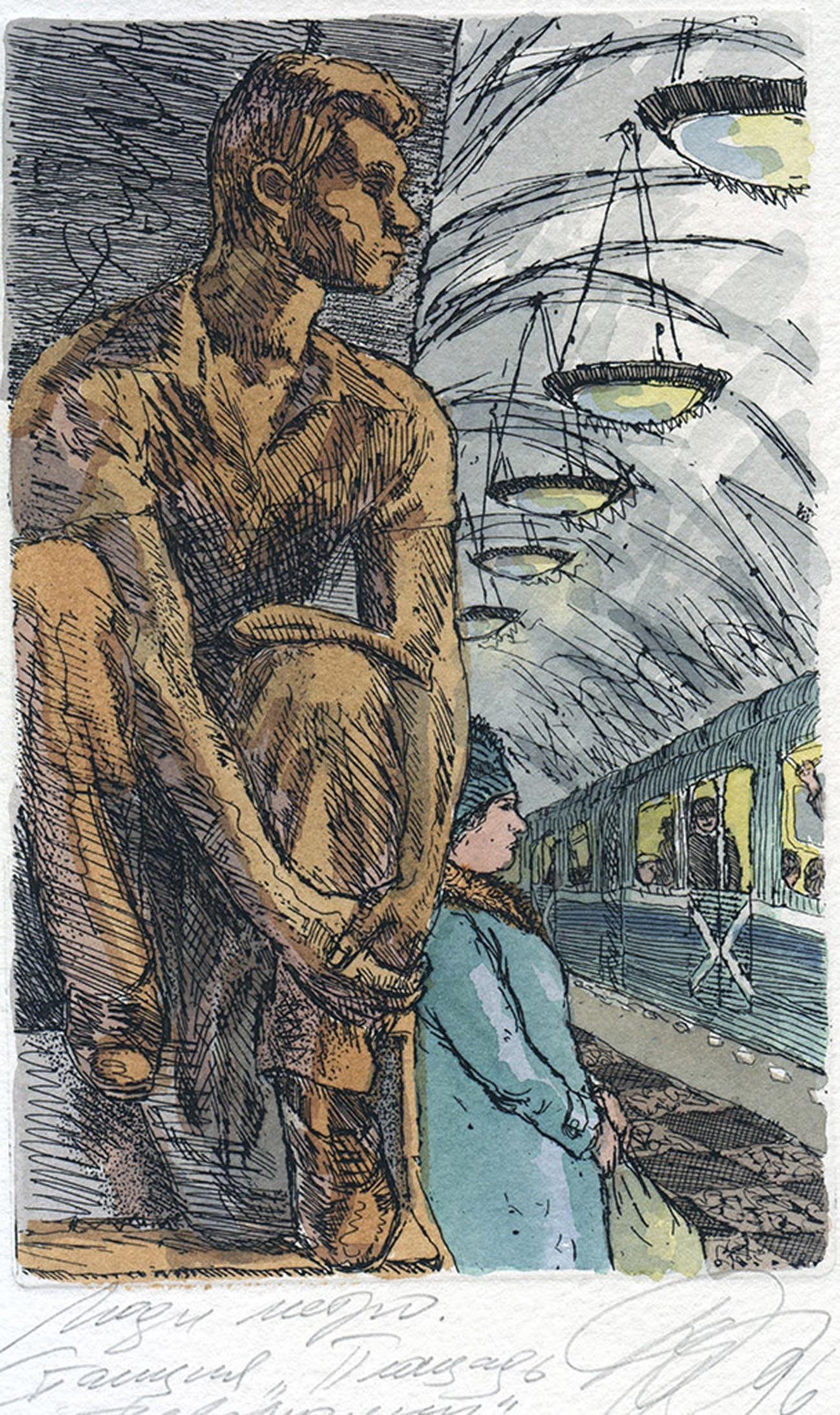 アリョーナ・デルギレワ、水彩画シリーズ「モスクワ」より