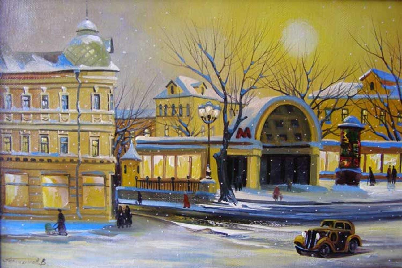 ウラジーミル・ゲラシモフ、「地下鉄駅クロポトキンスカヤ、冬」、2007年
