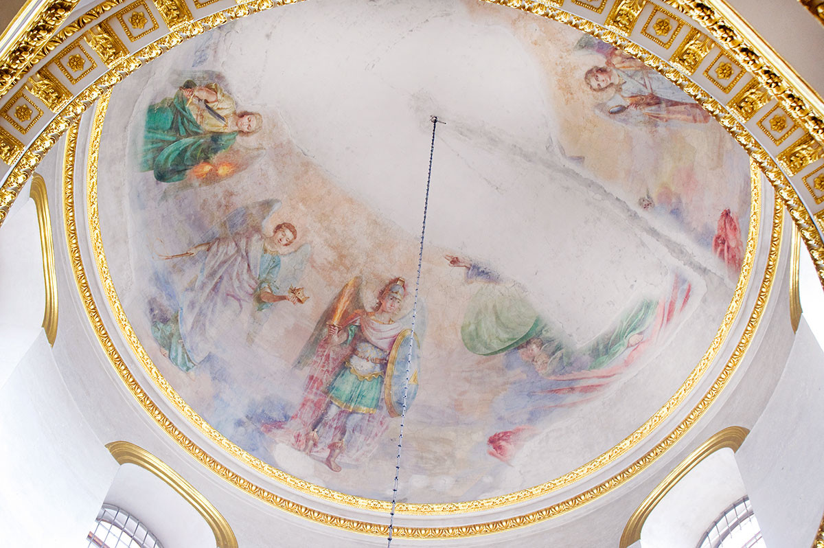 Epiphany Cathedral. Main dome painting: Gathering of Archangels. From upper left: Archangels Uriel, Jegudiel, Michael. August 23, 2016.