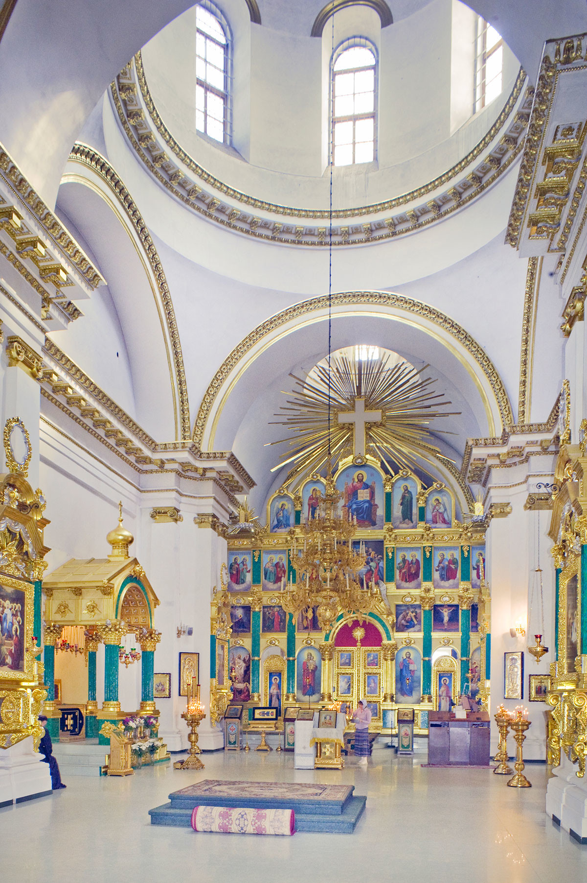 Epiphany Cathedral. Interior, view east toward main dome & icon screen. August 23, 2016.