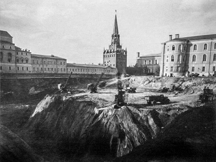 Durant le chantier, en 1959