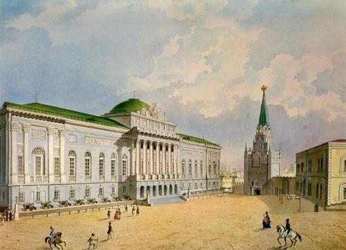Ancien bâtiment du Palais des Armures, aquarelle de Piotr Guerassimov, milieu du XIXe siècle
