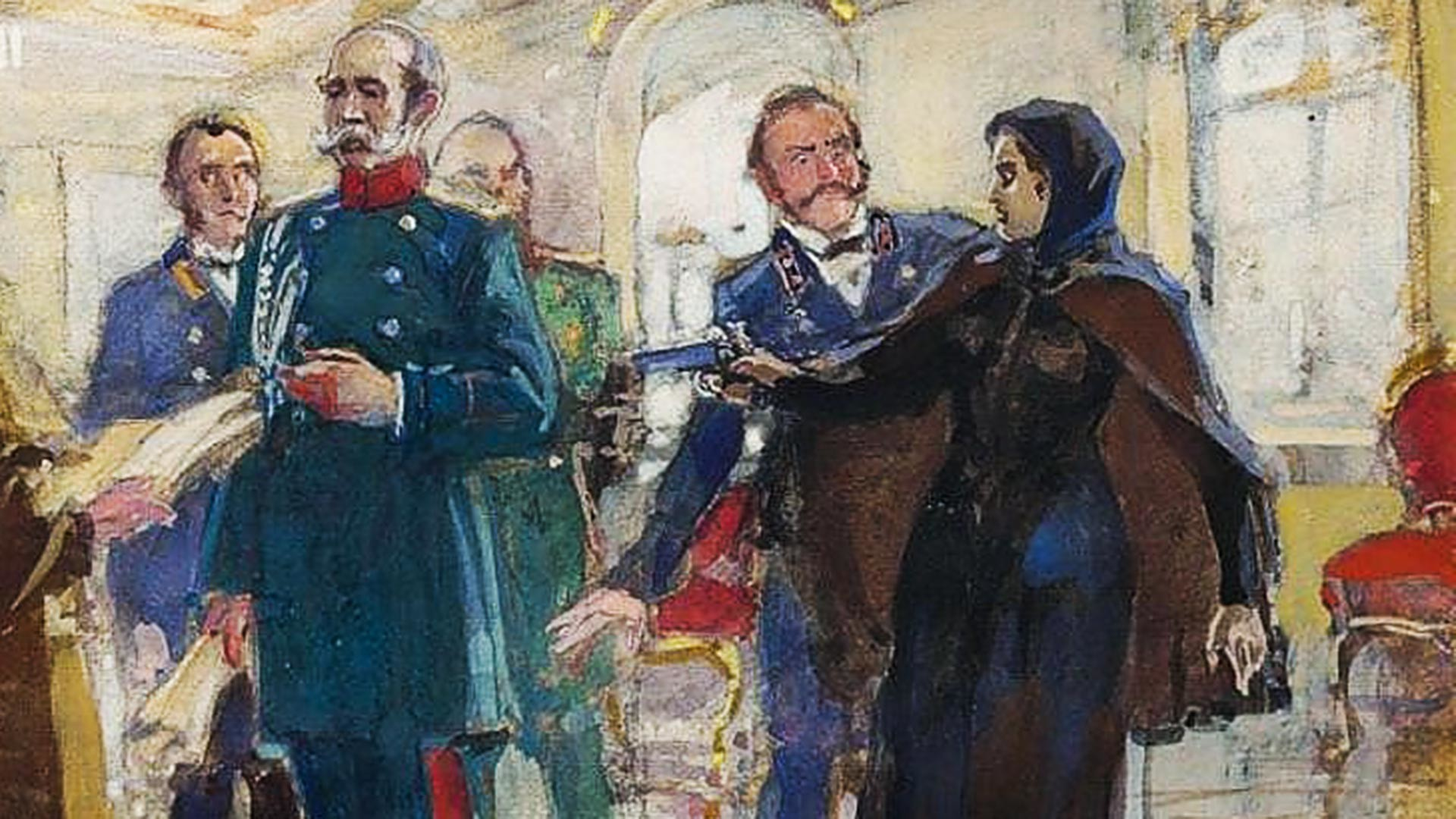 Vera Zasulich (1849-1919), the Russian revolutionary attempting the assassination of Fyodor Trepov (1803-1889), Chief of the St. Petersburg Police (1860-1878). She succeeded in only wounding him. At her trial the jury acquitted her.