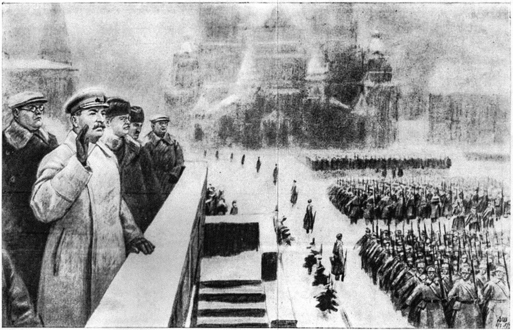 Шчербаков (одлево) на трибината на мавзолејот за време на Парадата на 7 ноември 1941 година.