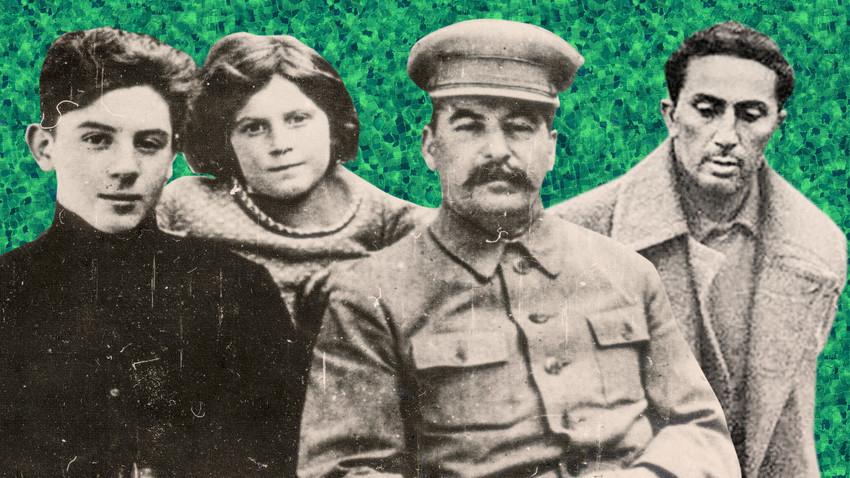 Stálin e seus filhos Vassíli, Svetlana e Iakov (da esq. para dir.)
