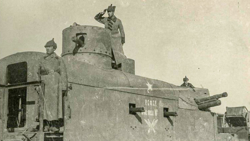 Armored train in the South front of the Red Army during the Civil War in Russia.