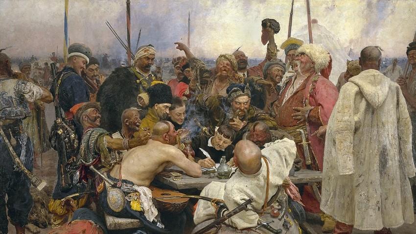 """""""Die Saporoger Kosaken schreiben dem türkischen Sultan einen Brief"""" von Ilja Repin"""