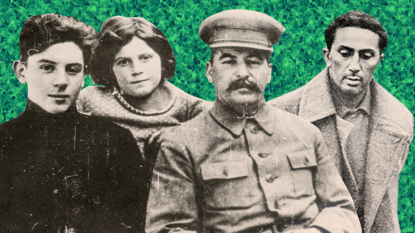 Josif Stalin e i suoi figli. Da sinistra: Vasilij, Svetlana e Yakov