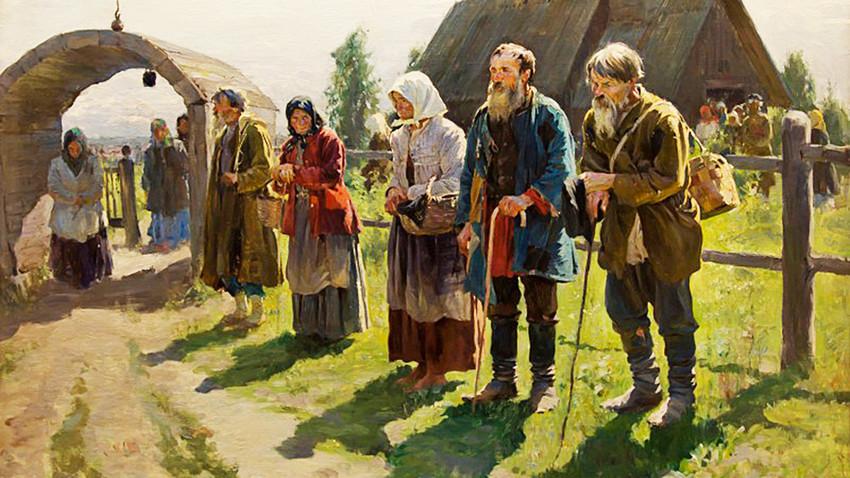 """""""Pobres perto da igreja"""". Pintura de Serguêi Vinogradov, 1899."""