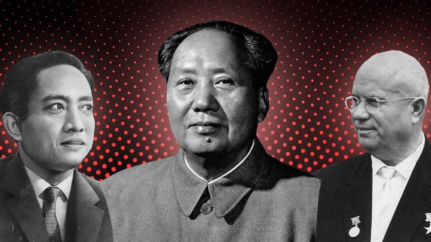 Dari kiri ke kanan: Pemimpin Pemimpin Partai Komunis Indonesia (PKI) D.N. Aidit, Pemimpin Partai Komunis Tiongkok (PKT) Mao Zedong, dan Pemimpin Uni Soviet Nikita Khrushchev.