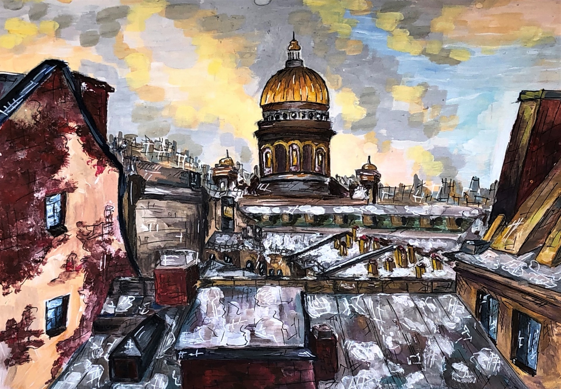 Nadezhda Konyukhova, 15 anni. Vista sulla cattedrale di Sant'Isacco, Mosca, 2020. Scuola d'arte E. F. Svetlanov.