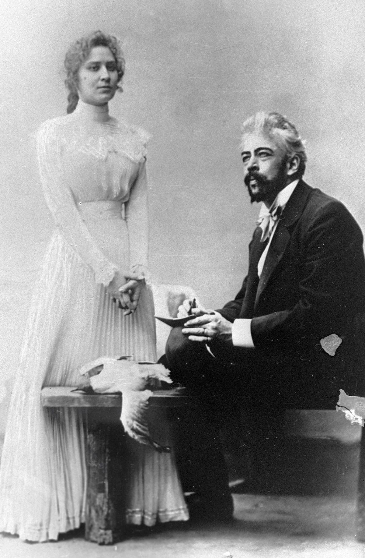 Marija Roksanova nei panni di Nina e Konstantin Stanislavskij nel ruolo di Trigorin nella rappresentazione