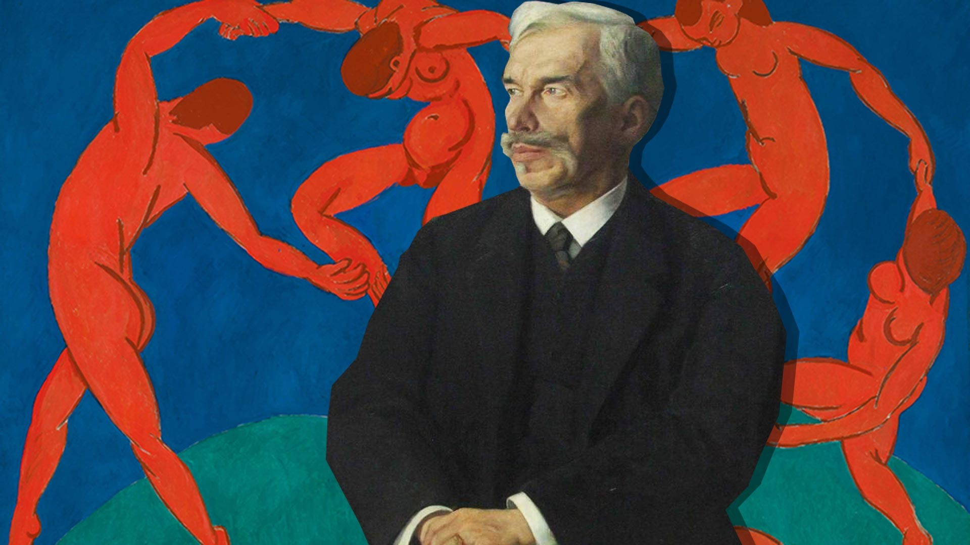 Portrait of Sergei Shchukin; 'Dance' by Henri Matisse from his collection on the background