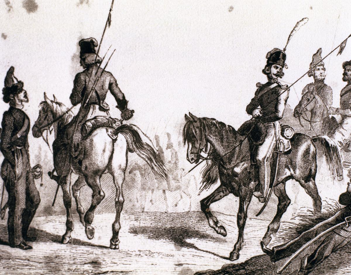 Militaires russes du XVIIIe siècle, gravure