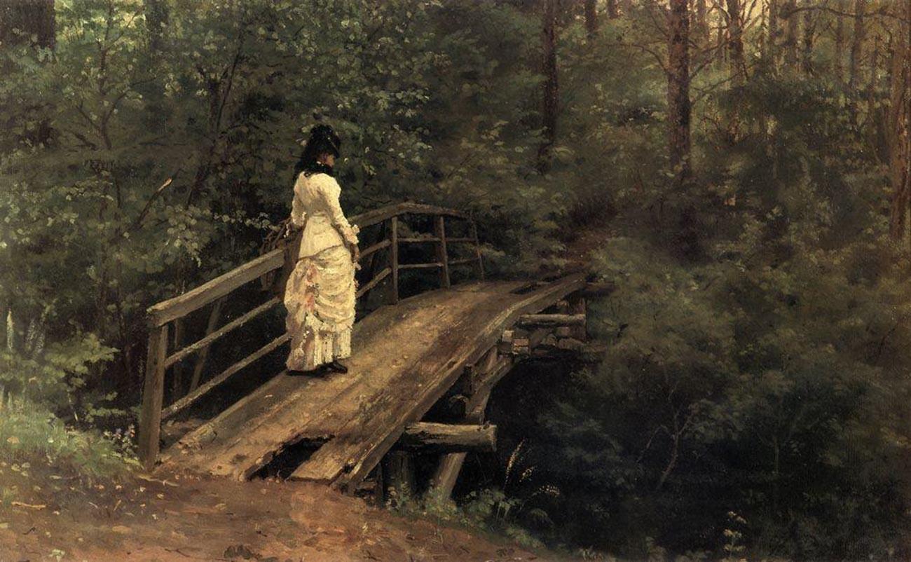 Vera Repina sur le pont d'Abramtsevo, 1879