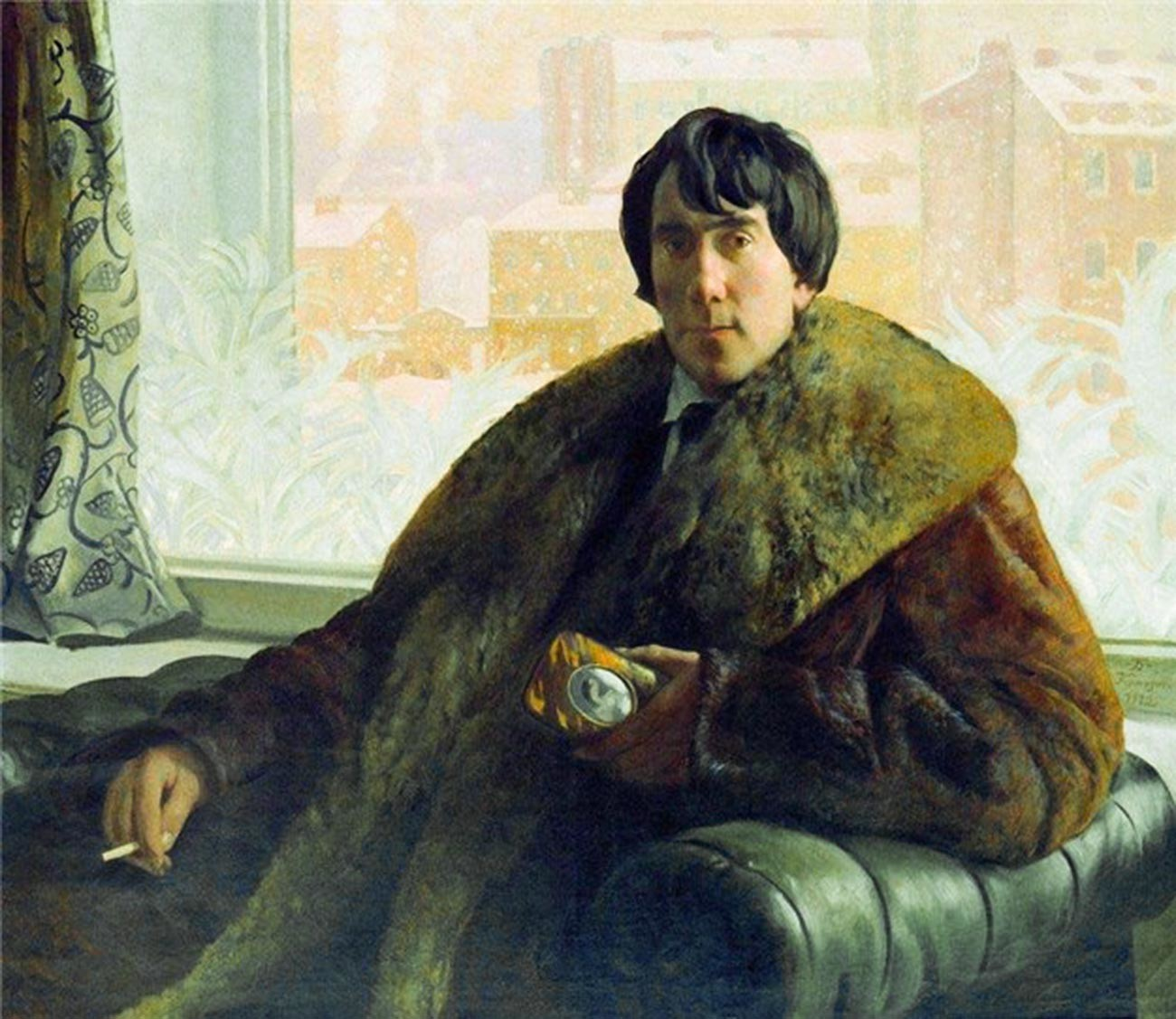 'Portrait of the sculptor and architect I. S. Zolotarevsky,' 1922, by Boris Kustodiev