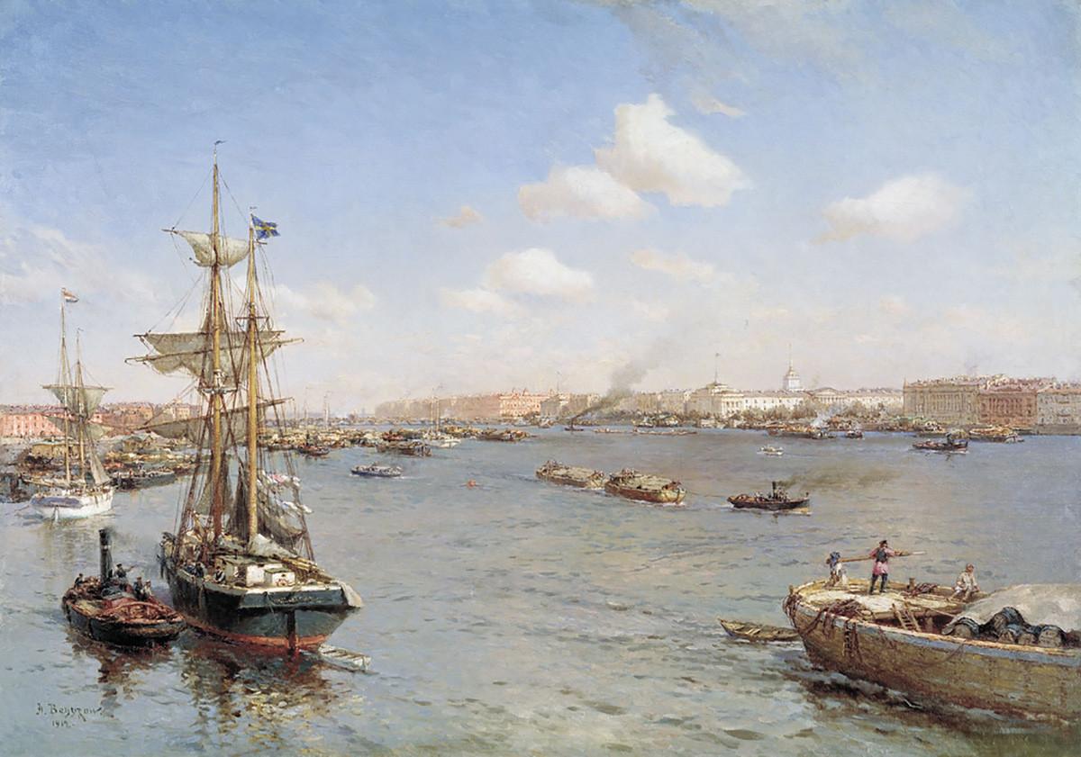 А.К. Беггров. Петербург. Вид на Неву. 1912