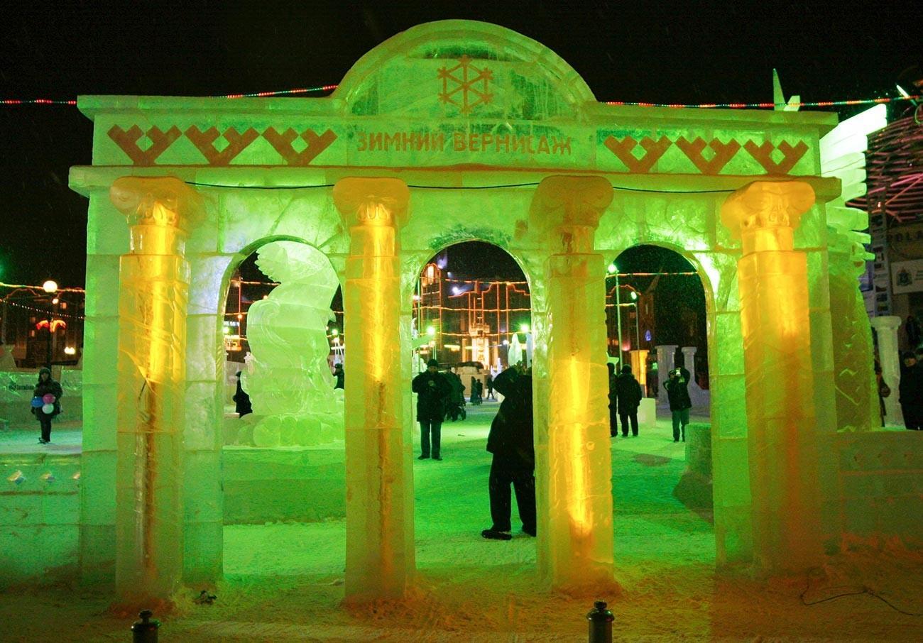 Concurso de arte no gelo em Salekhard