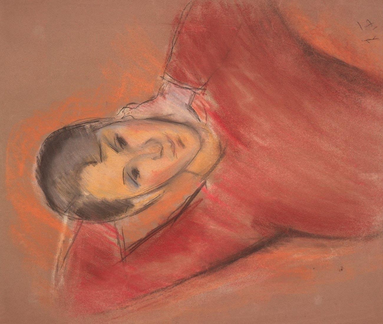 Portrait de femme en pull rouge. Paris. Années 1930