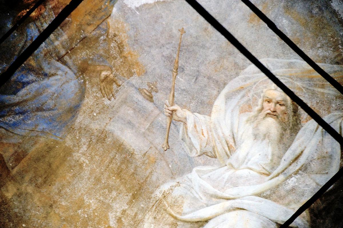 Église de Saint-Nil. Peinture du dôme représentant le Seigneur Sabaoth (XIXe siècle). Premier plan : tirants en fer renforçant la structure supérieure