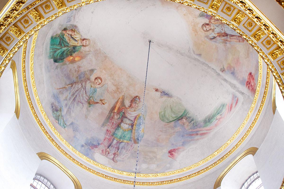 Cathédrale de l'Épiphanie. Peinture du dôme principal : rassemblement des Archanges. En haut à gauche : les archanges Uriel, Jéhudiel et Michael