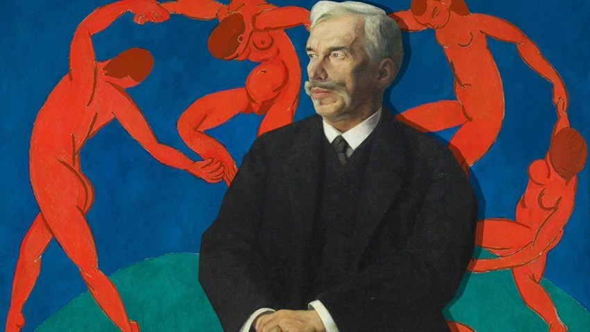 "Portret Sergeja Ščukina; v ozadju ""Ples"" Henri Matisse-a iz njegove zbirke"