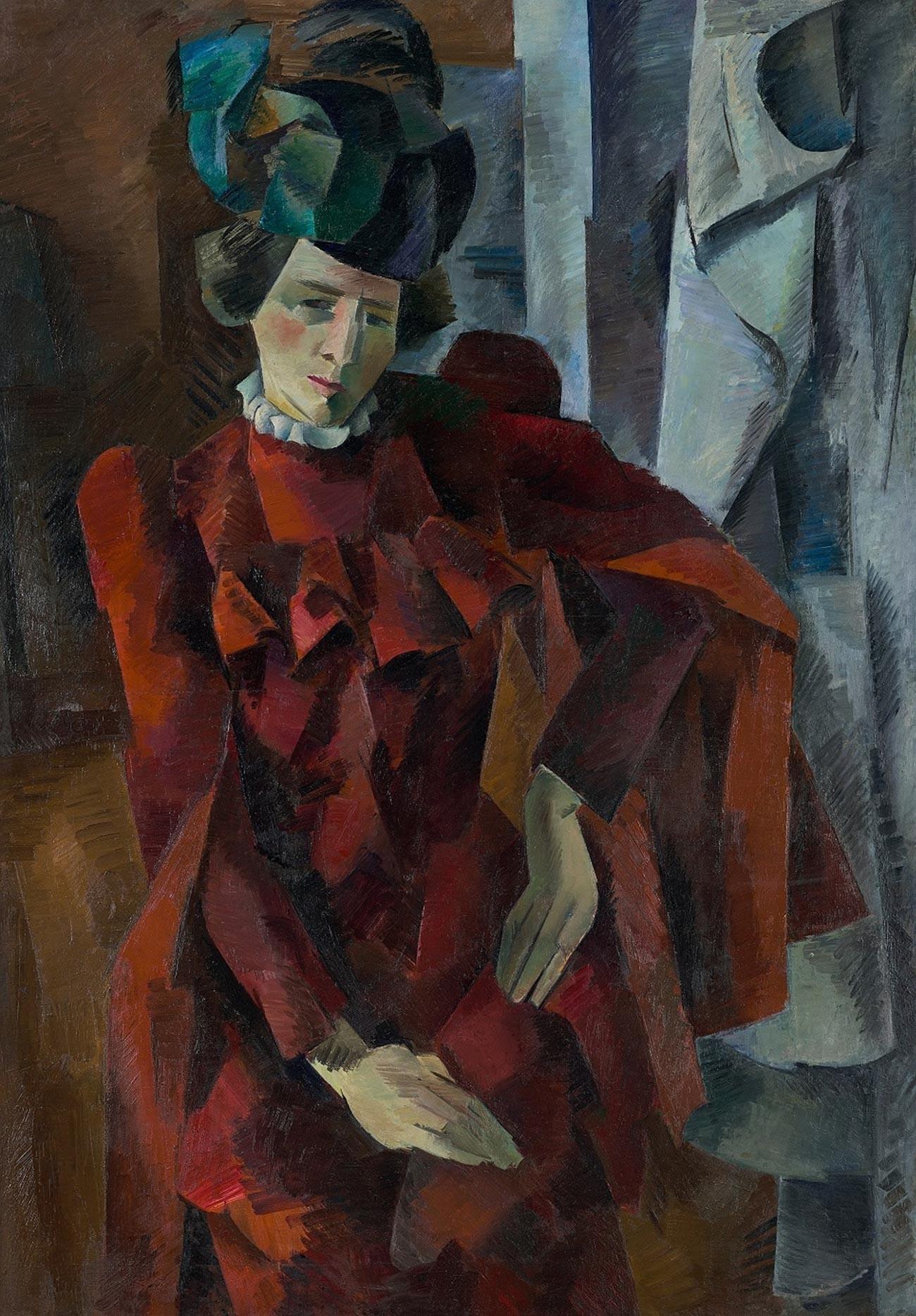 赤いドレスの婦人、1918年