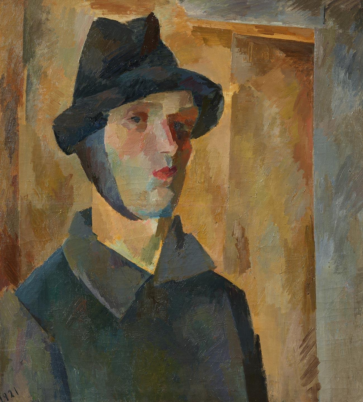 耳を覆った自画像、1921年