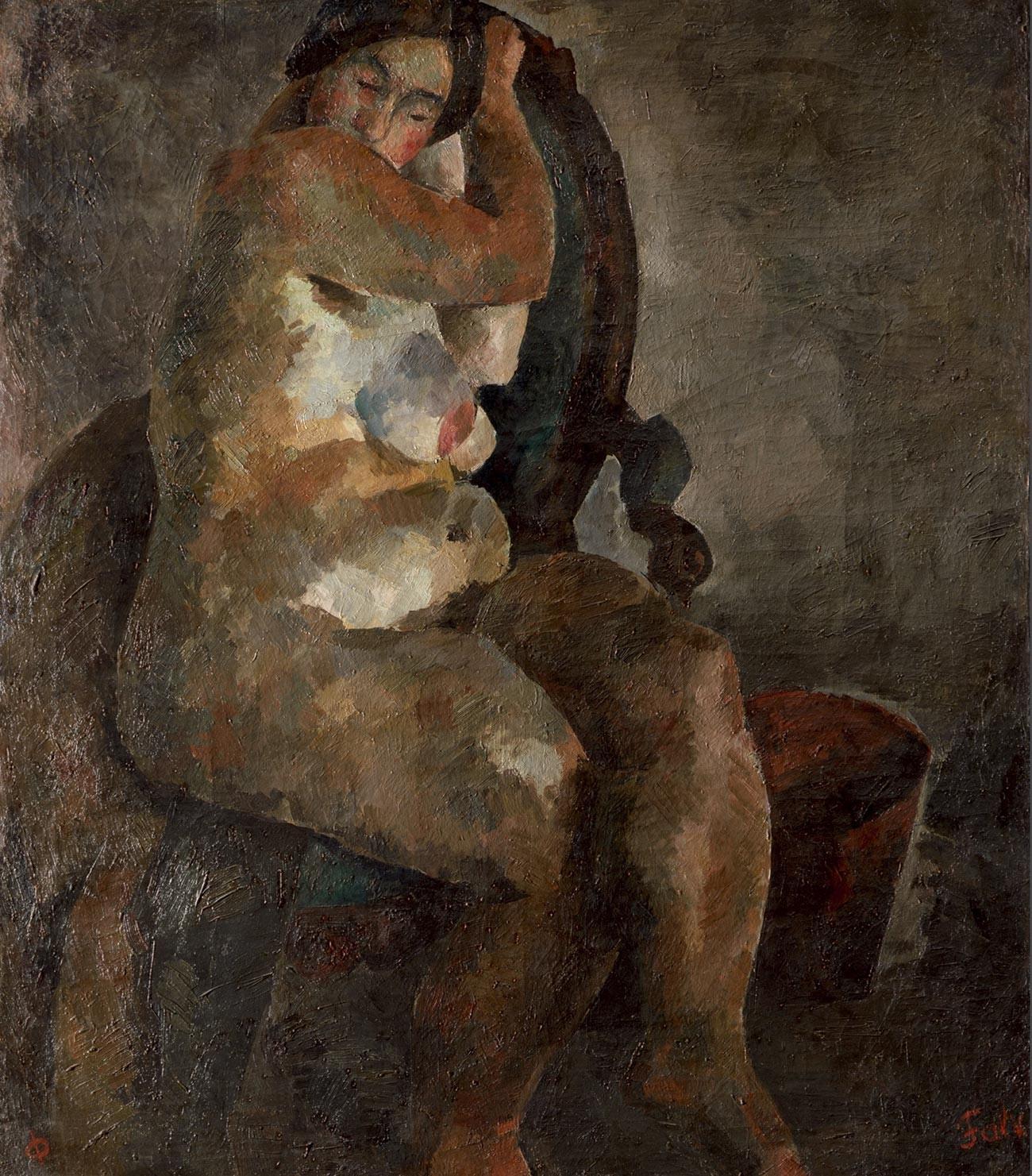 肘掛け椅子の裸婦、1920〜1923年