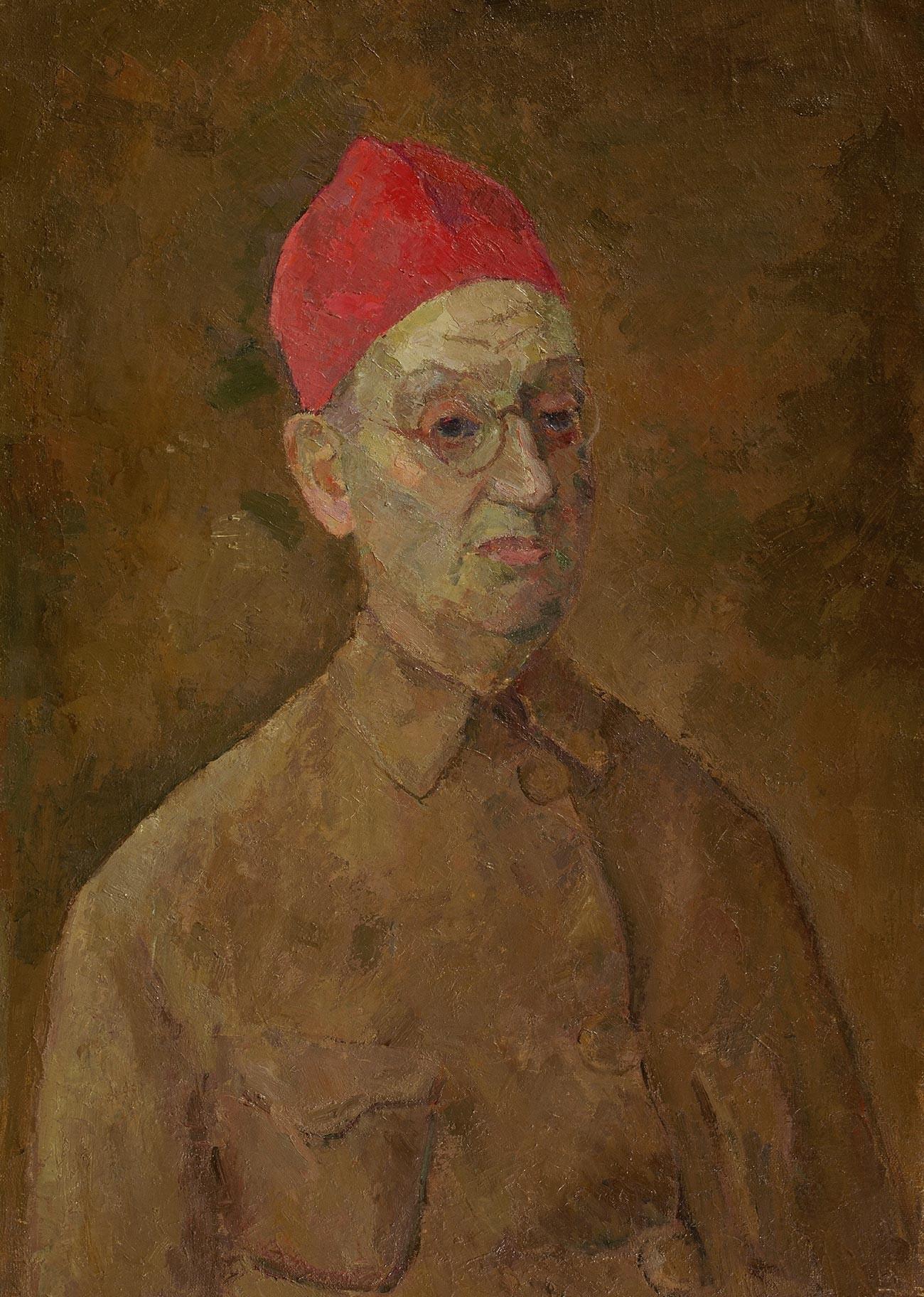 ロベルト・ファリク、赤いトルコ帽をかぶった自画像、1957年