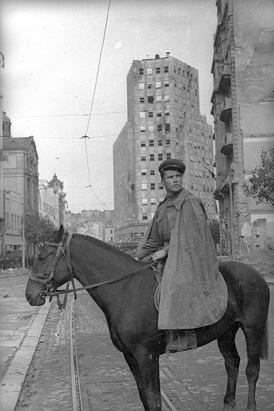Војник Црвене армије у ослобођеном Београду