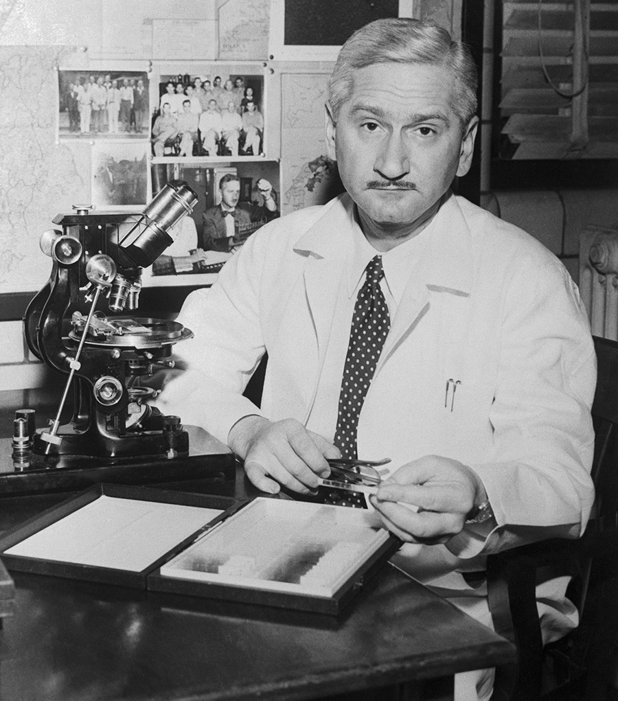 """Dr. Albert Sabin made his vaccine from """"live"""" polio virus."""