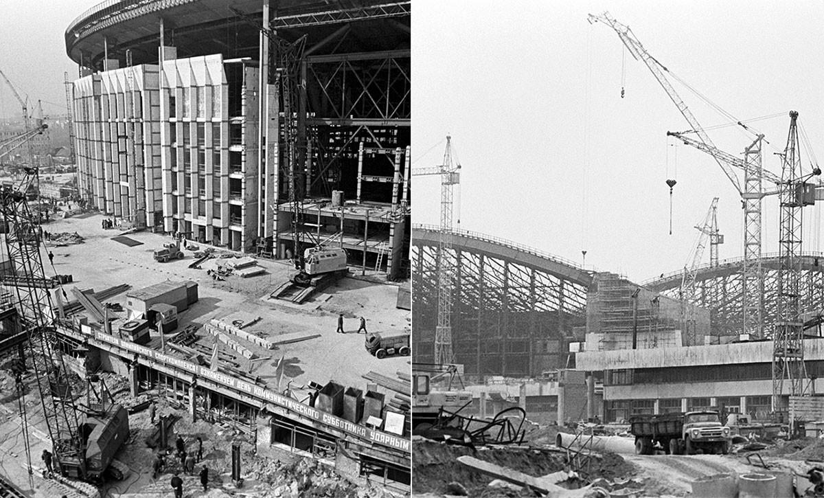 アリーナの建物(左)、スイミングプールの建設(右)