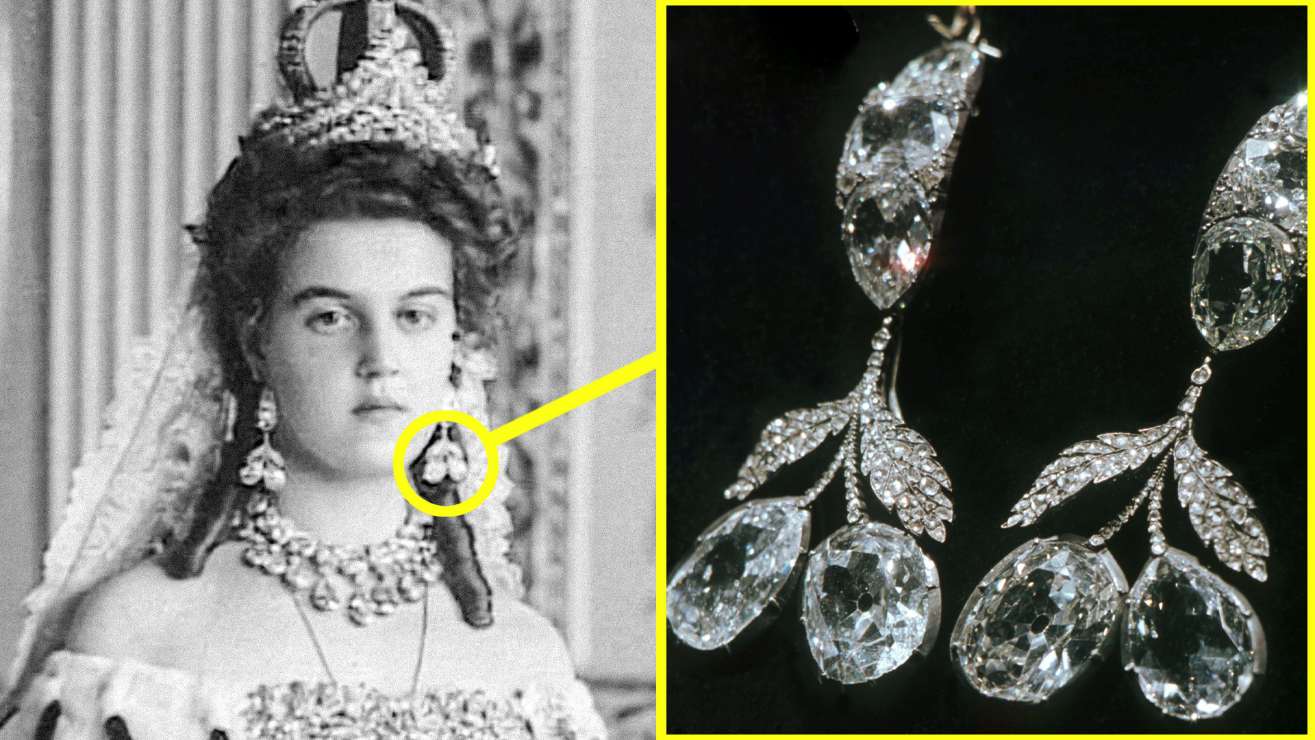 Maria Pavlovna wearing the Cherry earrings and the diadem with pink diamond. Now both these items are kept in Moscow's Diamond Fund. The wedding crown was sold abroad.
