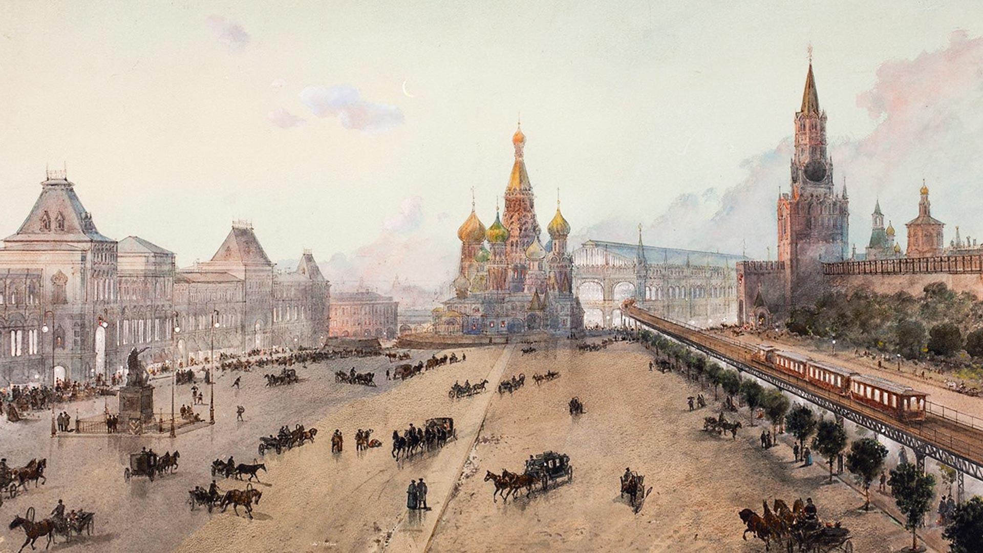 Il cavalcavia e la stazione centrale della metropolitana progettati sulla Piazza Rossa dall'ingegnere P. I. Balinskij. L'idea però non piacque a Nicola II. Disegno di N. Karazin (progettato dagli ingegneri E. K. Knorre e P. I. Balinskij), 1902