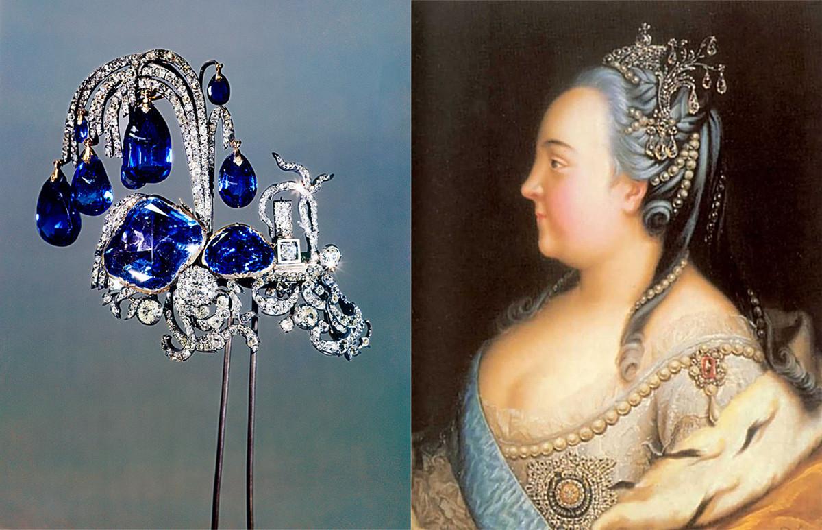 """La fontana """"aigrette"""" (ossia """"pennacchio"""") indossata da Elizaveta Petrovna e dai suoi discendenti"""