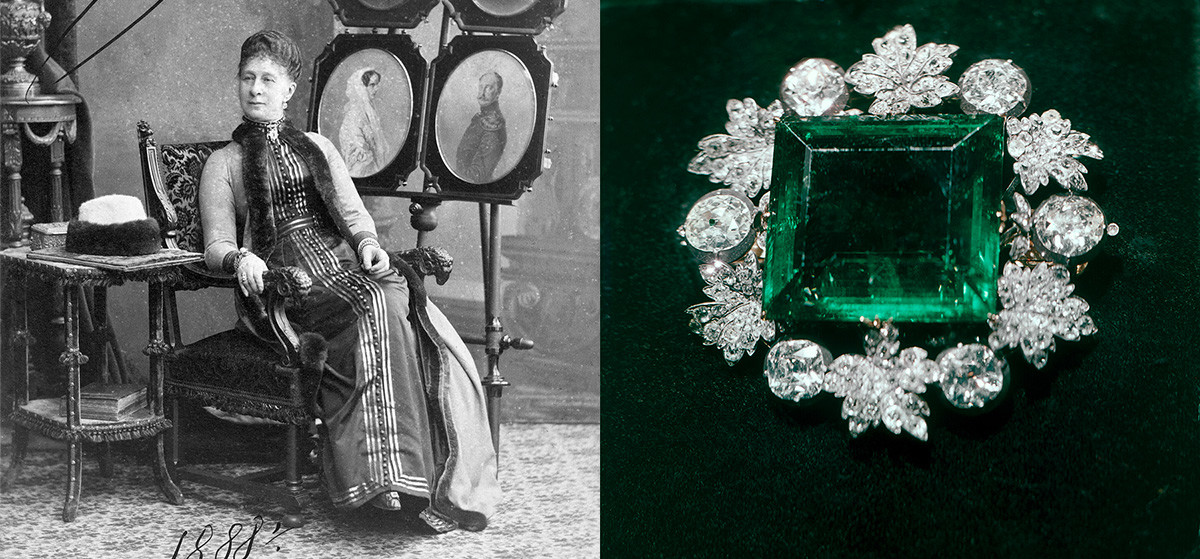 "La granduchessa Aleksandra Iosifovna e la spilla con smeraldo ""Regina verde"""