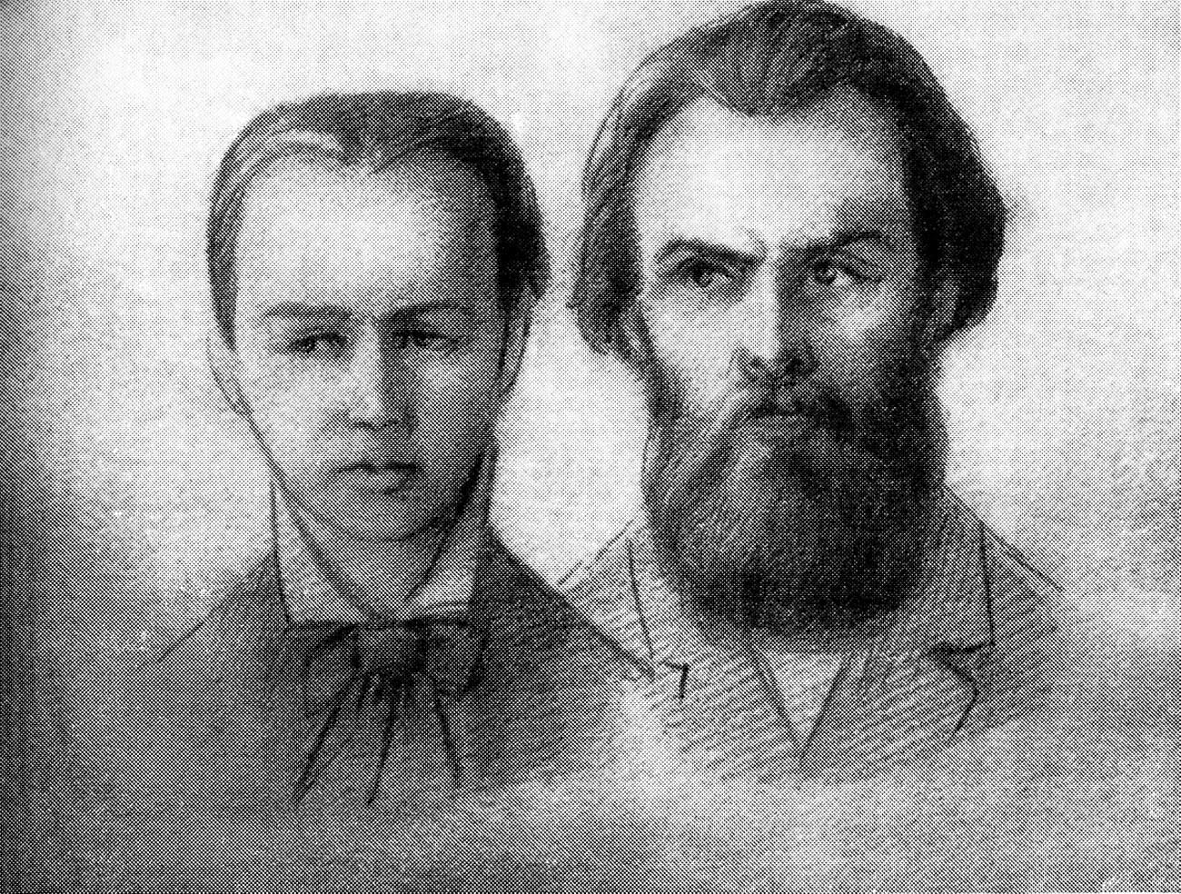 Andrei Zhelyabov dan Sofya Perovskaya selama persidangan pembunuhan Aleksandr II.