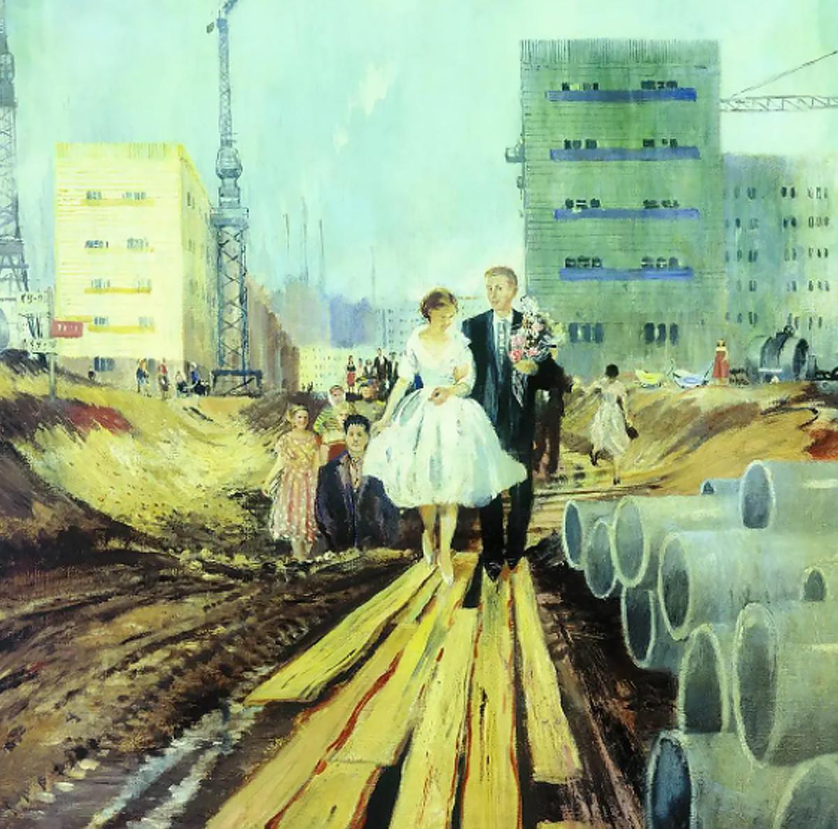 Wedding on tomorrow street, 1962. Yury Pimenov.