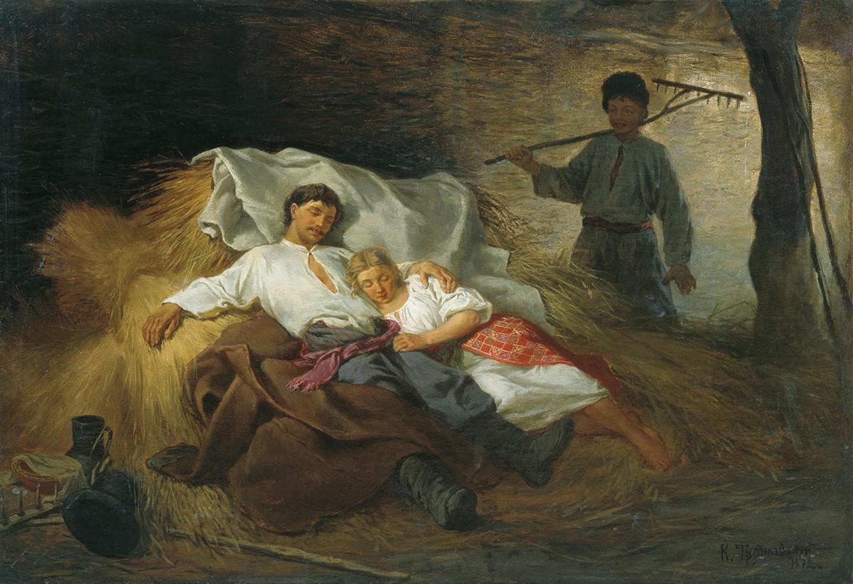 In a hayloft, 1872. Konstantin Trunovsky