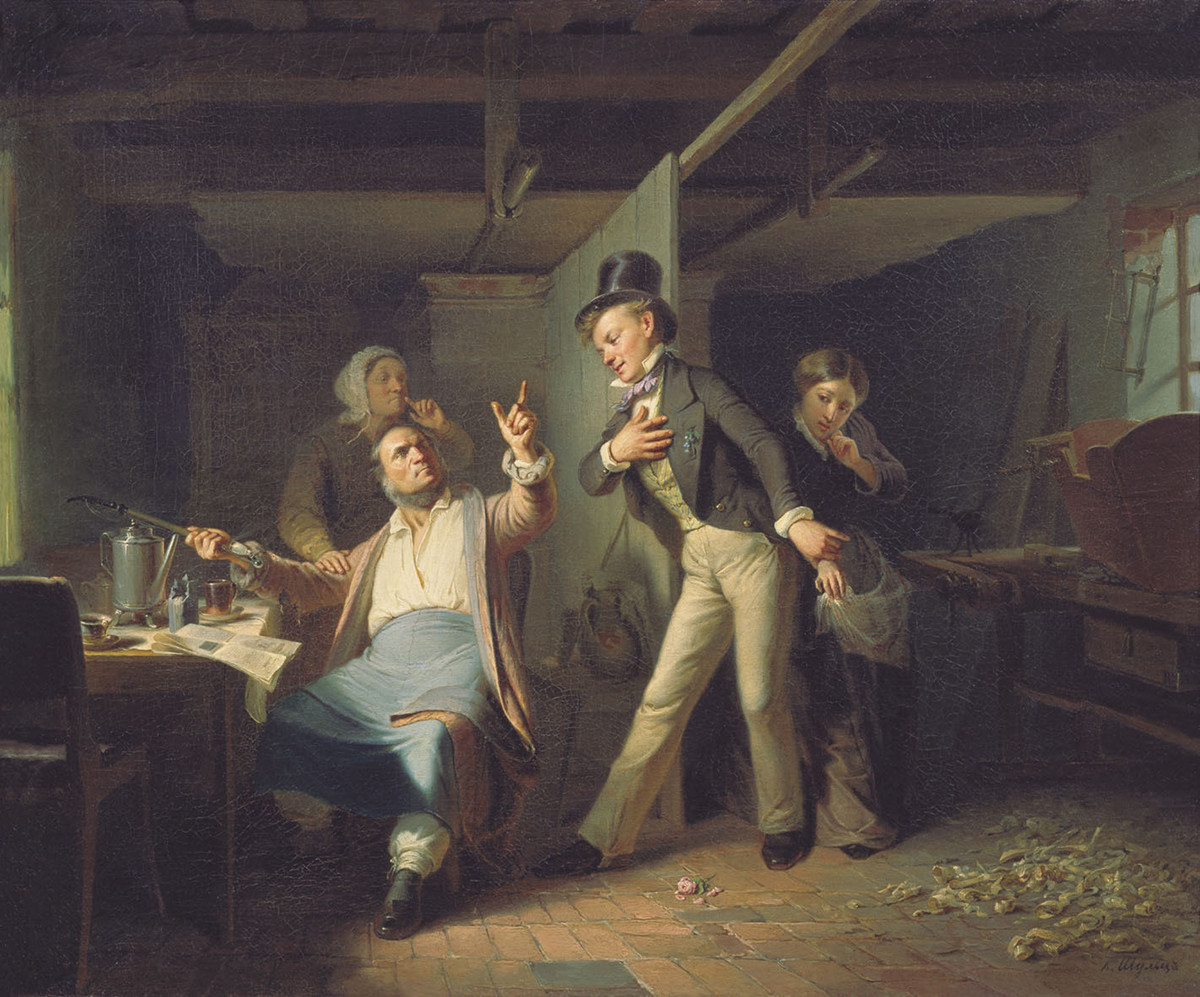 A carpenter's apprentice asks for the hand of his master's daughter, 1856. Carl Schultz