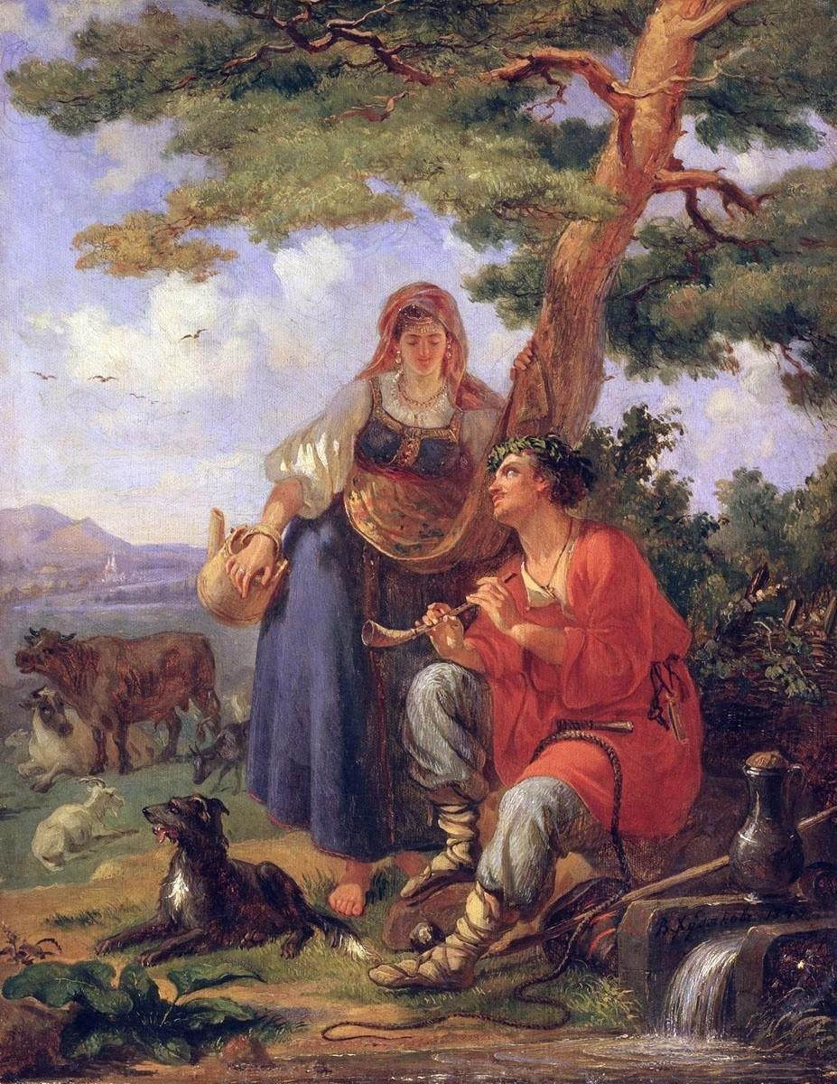 A shepherd and peasant woman, 1849. Vassily Khudyakov
