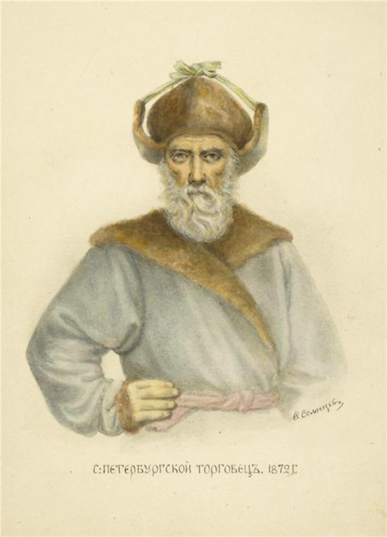Търговец от Санкт Петербург в треух, 1872 г.
