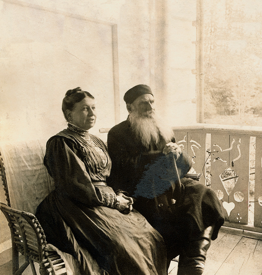 (Original Caption) Leo Tolstoy (1828-1910) is shown seated with his wife, Sonya. Undated - - -