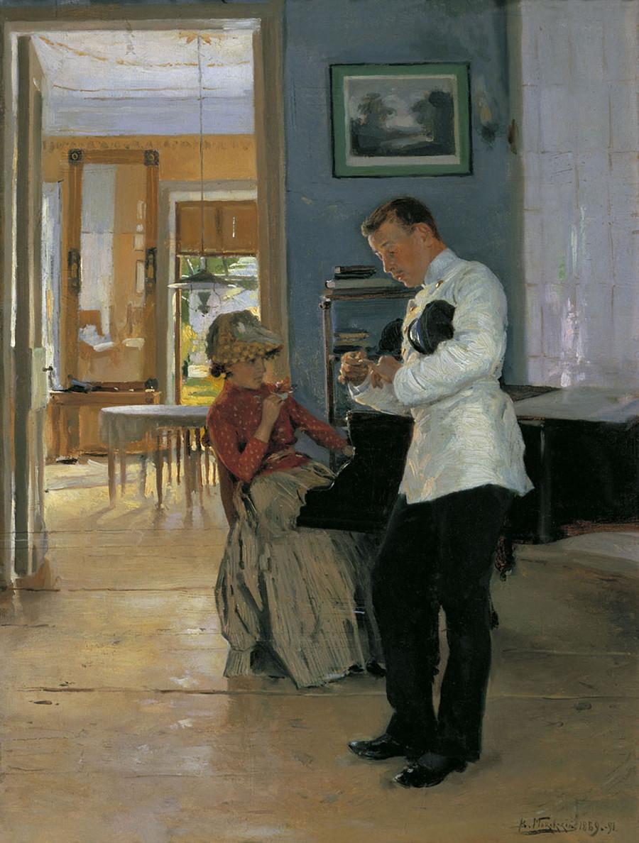 Menyatakan cinta, 1891. Vladimir Makovsky